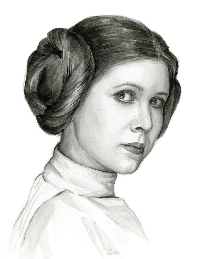 720x900 Princess Leia Watercolor Portrait Painting By Olga Shvartsur