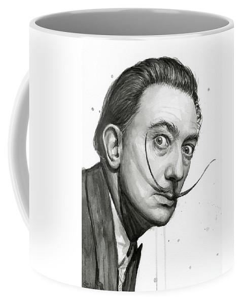 479x600 Salvador Dali Portrait Black And White Watercolor Coffee Mug For