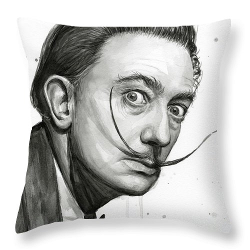 500x500 Salvador Dali Portrait Black And White Watercolor Throw Pillow For