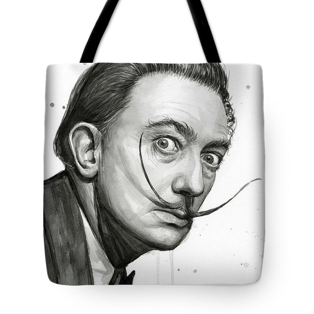 1000x1000 Salvador Dali Portrait Black And White Watercolor Tote Bag For