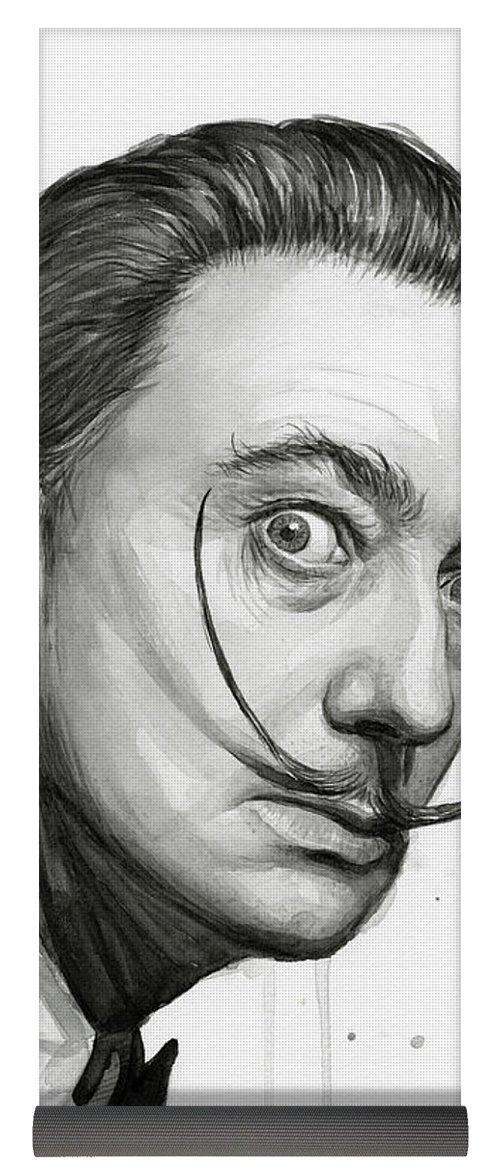 500x1171 Salvador Dali Portrait Black And White Watercolor Yoga Mat For