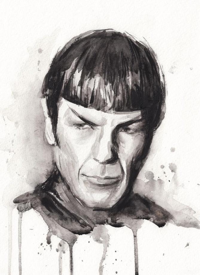 669x920 Spock Portrait Star Trek Watercolor Sci Fi Art, An Art Print By