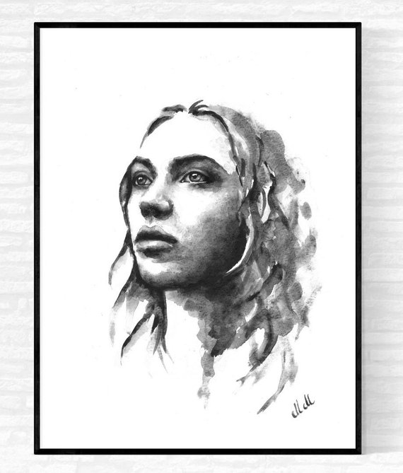 570x669 Watercolor Portrait Painting Black And White Etsy
