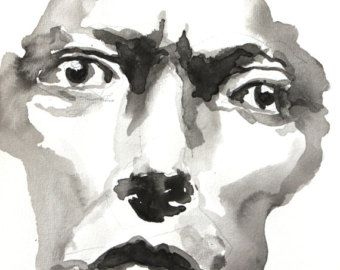 340x270 Portrait Drawing, Ink, Black White,print,figurative Art,female