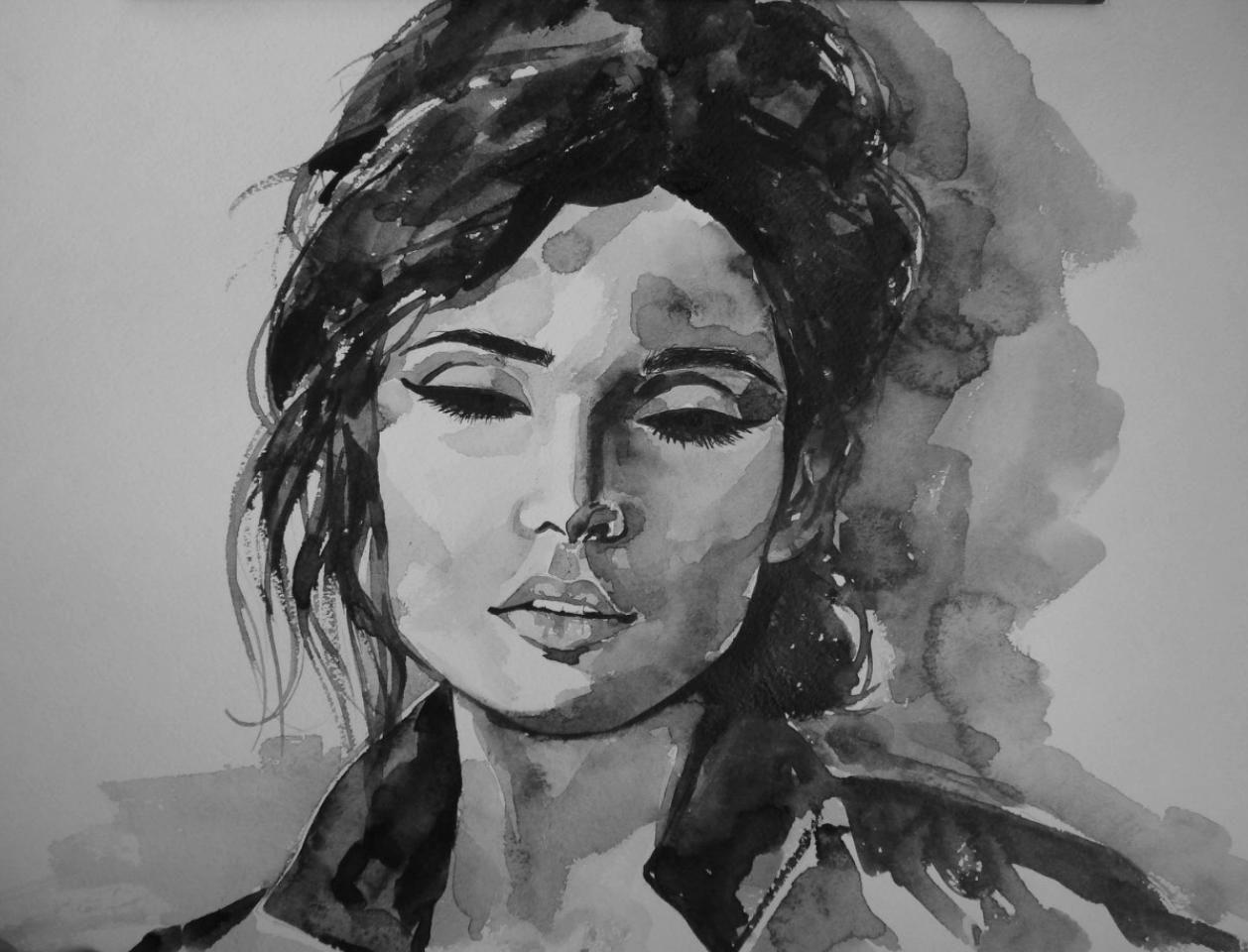 1258x960 Watercolor Portrait Black White Portfolio Watercolor
