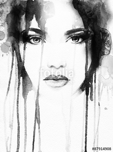 372x500 Woman Portrait .abstract Watercolor Stock Photo And Royalty Free