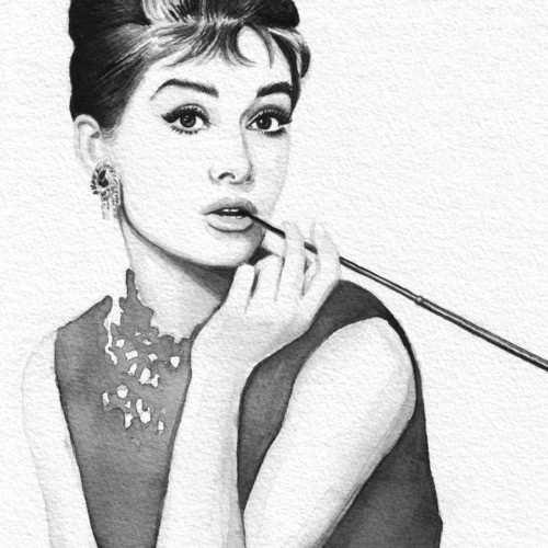 500x500 Audrey Hepburn Watercolor Portrait Wood Print
