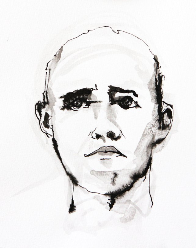 642x809 Black And White Art Figurative Watercolor Portrait Painting Etsy