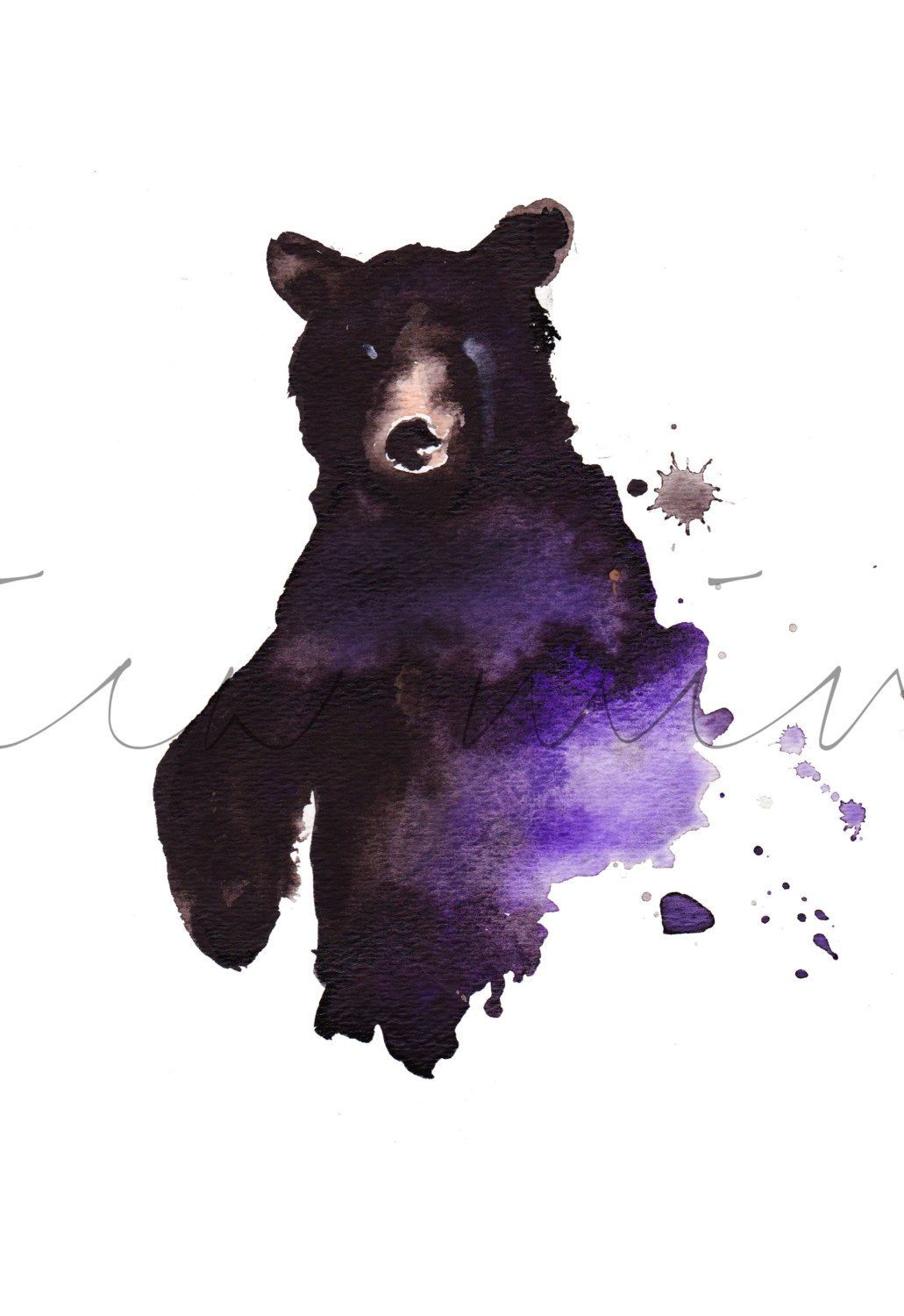 1031x1500 Black Water Bear, Black Bear Painting, Watercolor Bear, Statement