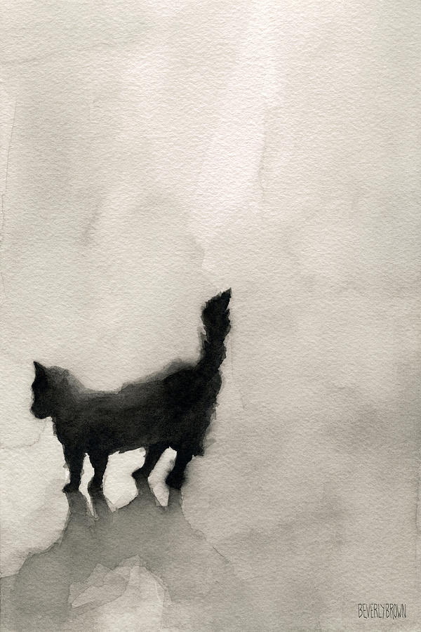 600x900 Black Cat Watercolor Painting Painting By Beverly Brown Prints