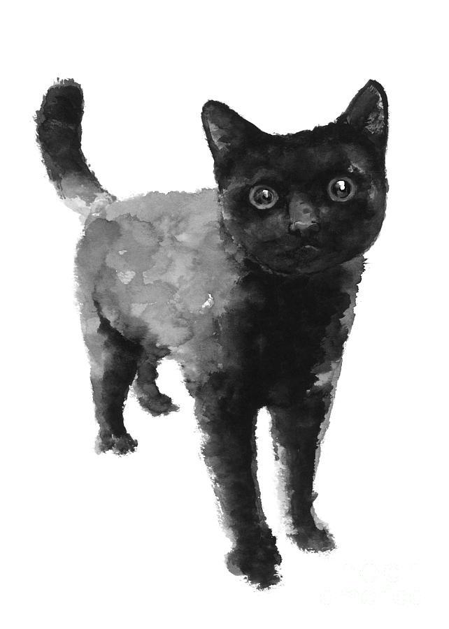642x900 Black Cat Watercolor Painting Painting By Joanna Szmerdt
