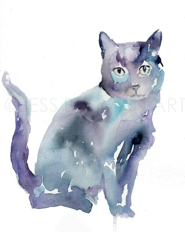642x803 Black Cat Watercolor Painting Print Black Cat Painting Cat Etsy