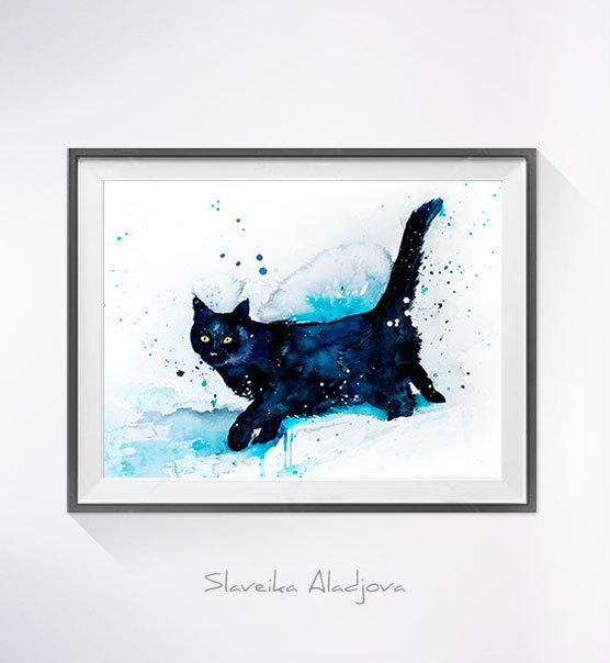 556x604 Black Cat Watercolor Painting Print