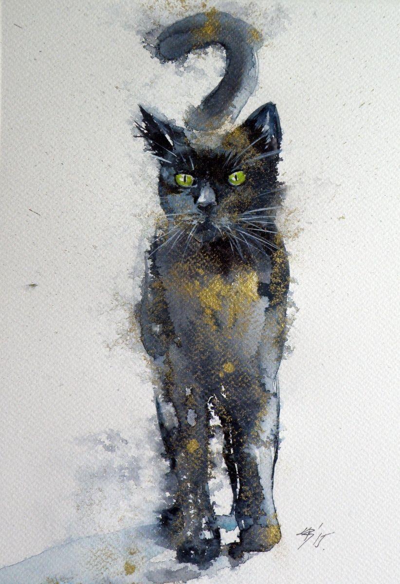 822x1200 Black Cat In Gold Ii, Watercolour Painting By Anna Brigitta