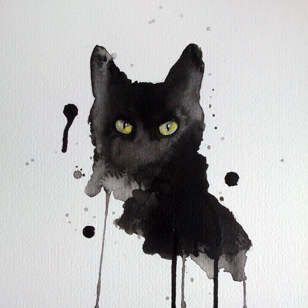 600x600 Black Cat Watercolor By Excentric