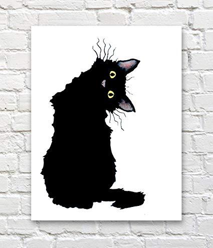 425x495 Crazy Black Cat Watercolor Art Print By Artist Dj