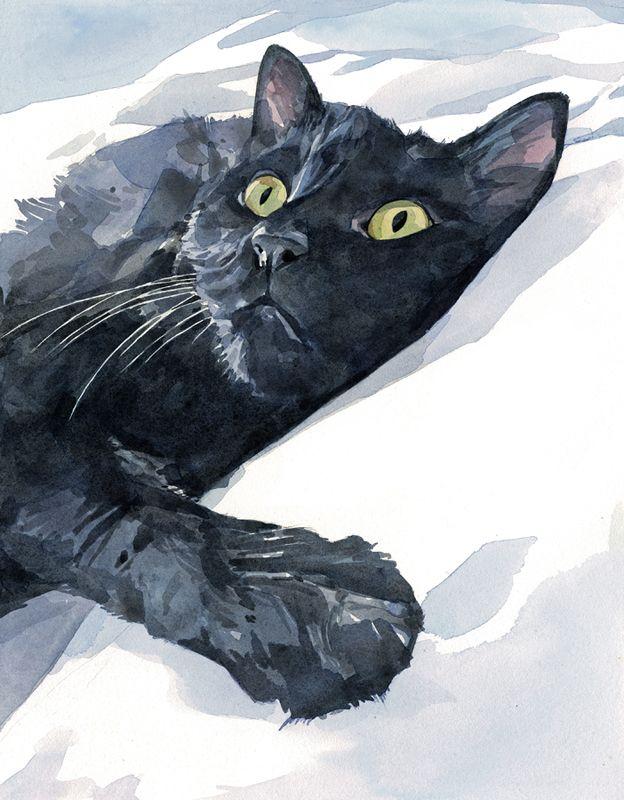 624x800 Black Cat Watercolor Painting Watercolors Painting