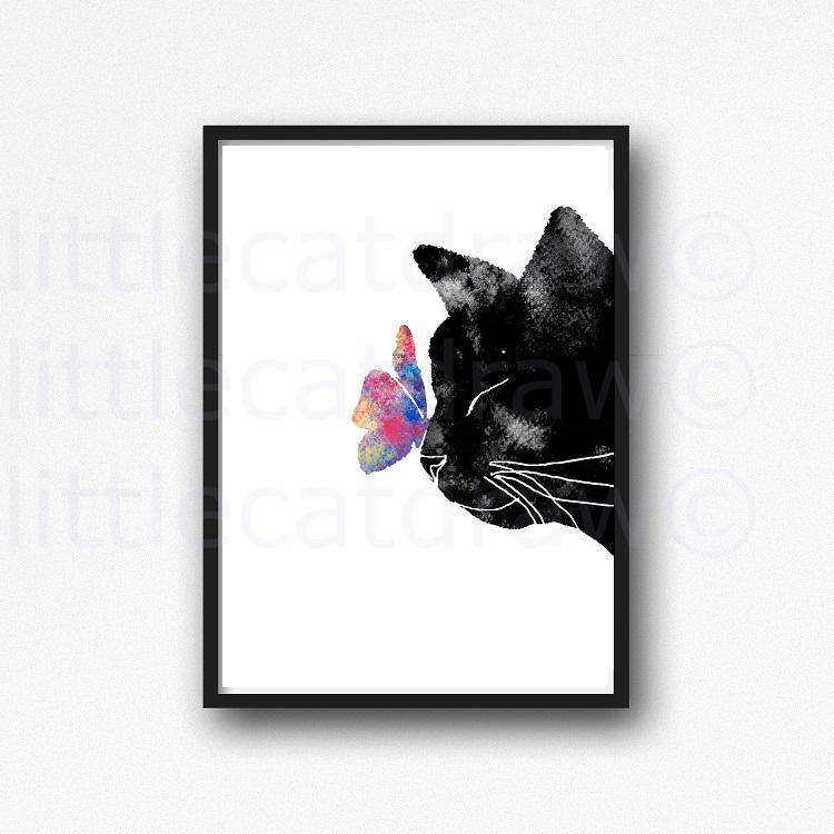 750x750 Buy Black Cat With A Butterfly Watercolor Painting Print