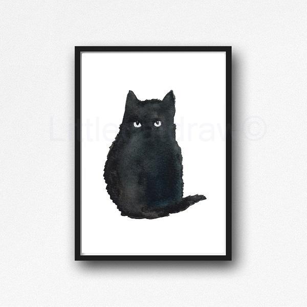 600x600 Buy Little Black Cat Watercolor Painting Print Watercolour Wall