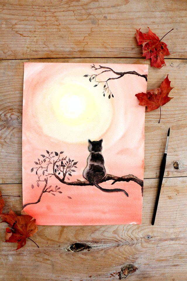 640x960 Diy Black Cat Watercolor Painting Ehow