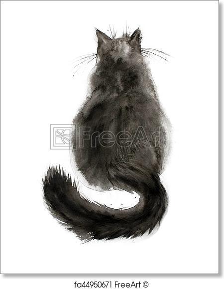 450x580 Free Art Print Of Watercolor Black Cat. Watercolor Painting Of