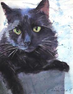 233x300 Giclee Print Black Cat Art Watercolor Painting Splash Pet Portrait