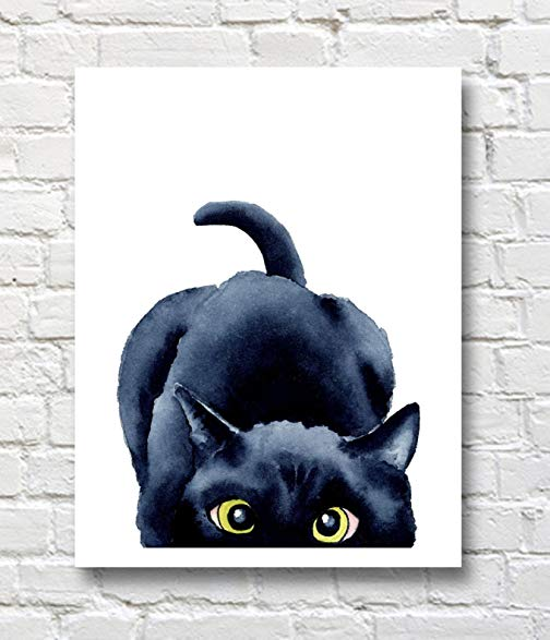 504x587 Peeking Black Cat Watercolor Black Cat Art Print