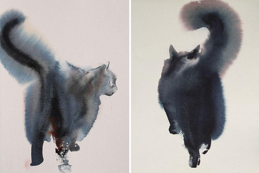 880x591 Gloomy Watercolor Cats Slowly Bleeding Into The Paper Bored Panda