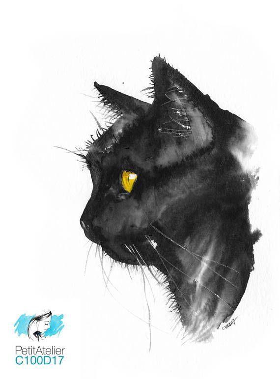 570x772 Original Gift Unique Watercolor Cute Black Cat
