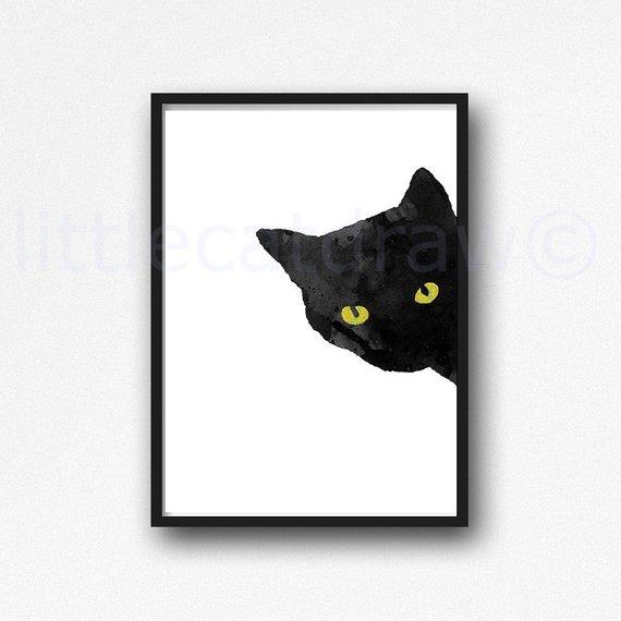570x570 Sneaky Cat Print Black Cat Watercolor Painting Print Bedroom Etsy