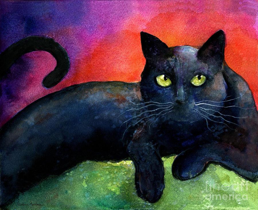 900x733 Vibrant Black Cat Watercolor Painting Painting By Svetlana Novikova