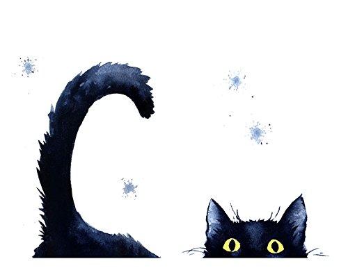 500x386 Sneaky Black Cat Watercolor Cat Art Print By Artist