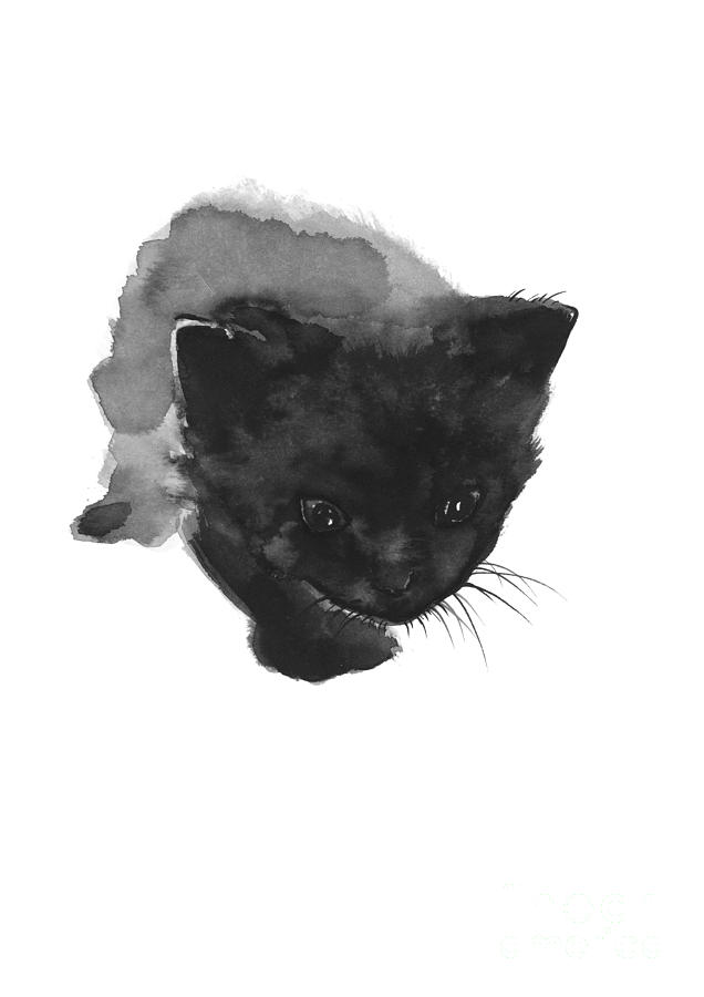 636x900 Black Cat, Kitty Home Decor, Black Kitten Print Watercolor