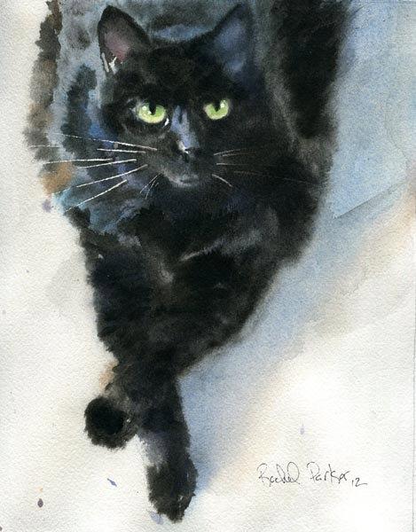 469x600 Black Cat Art Original Watercolor Painting Pet Portrait 4