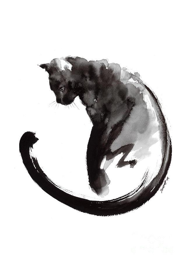 635x900 Black Cat Painting By Mariusz Szmerdt