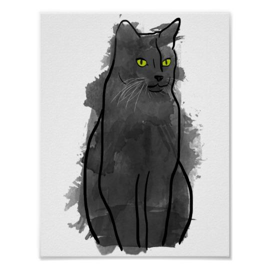 540x540 Black Cat Watercolor Art, Watercolor Cat Decor