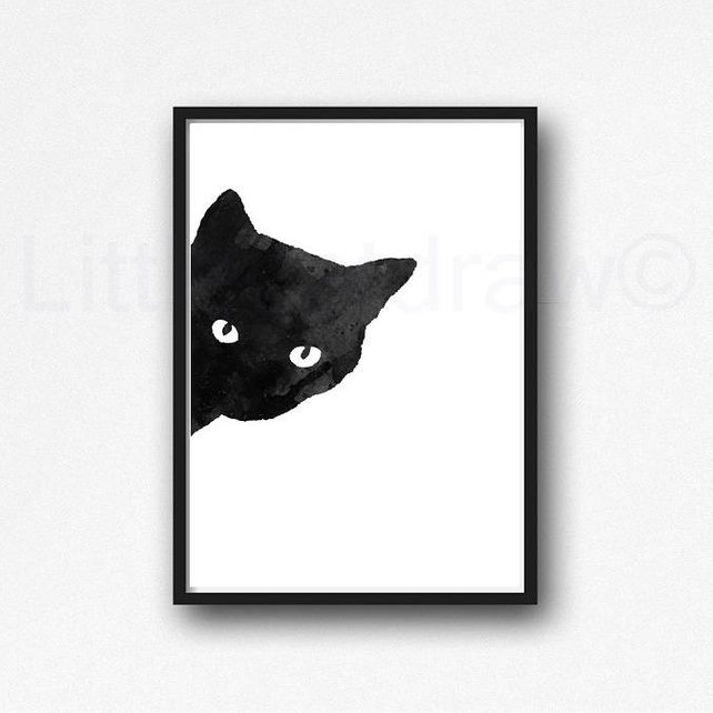 642x642 Peekaboo Cat Print Black Cat Watercolor Cat Art Black Cat Etsy