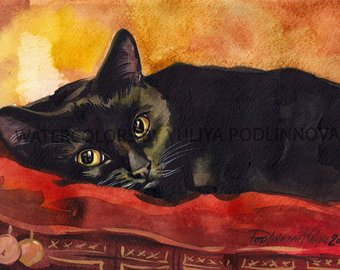 340x270 Black Cat Watercolor Black Cat Print Black Cat Art Cat