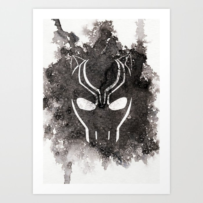 700x700 Black Panther Mask Using Watercolor Art Print By Waterdesigns