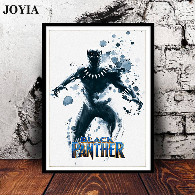 640x640 Black Panther Movie Poster Abstract Marvel Super Hero Watercolor