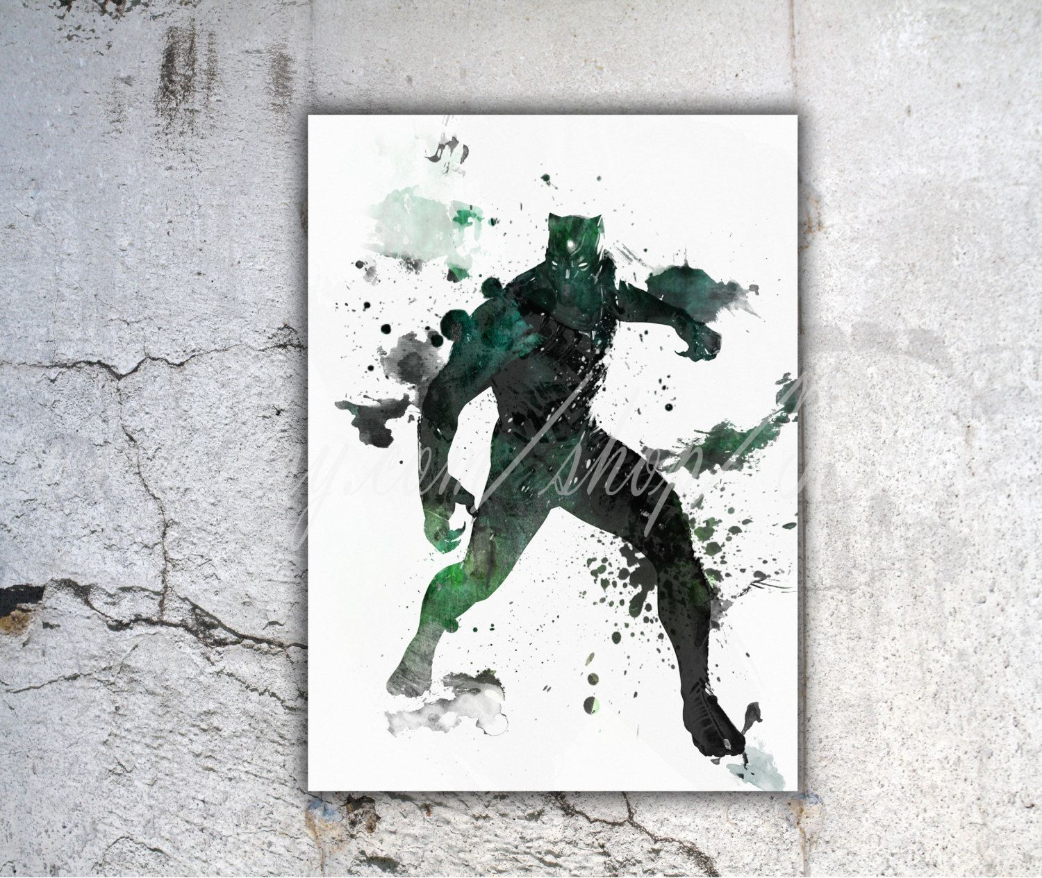 1500x1265 Black Panther Poster Watercolor Print Marvel Comics By Tronyc