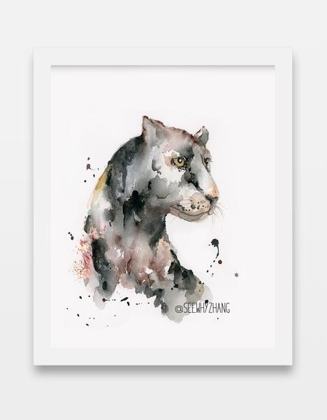 468x600 Black Panther Watercolor Art Print Easy Sunday Club