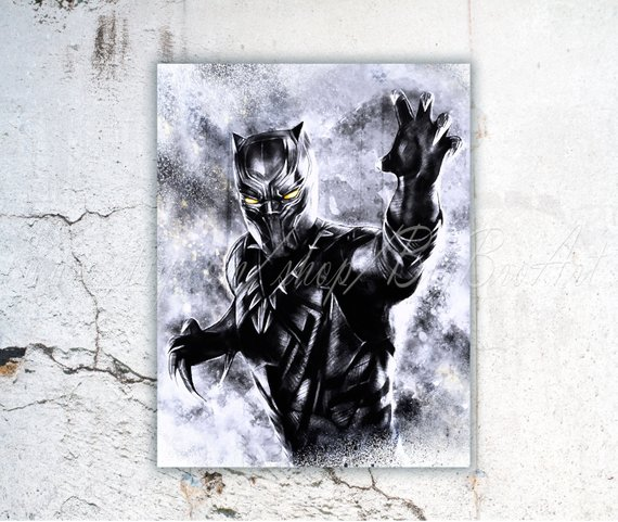 570x481 Black Panther Watercolor Black Panther Art Superhero Art Etsy