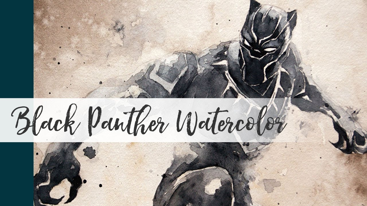 1280x720 Black Panther Watercolor Painting Demo