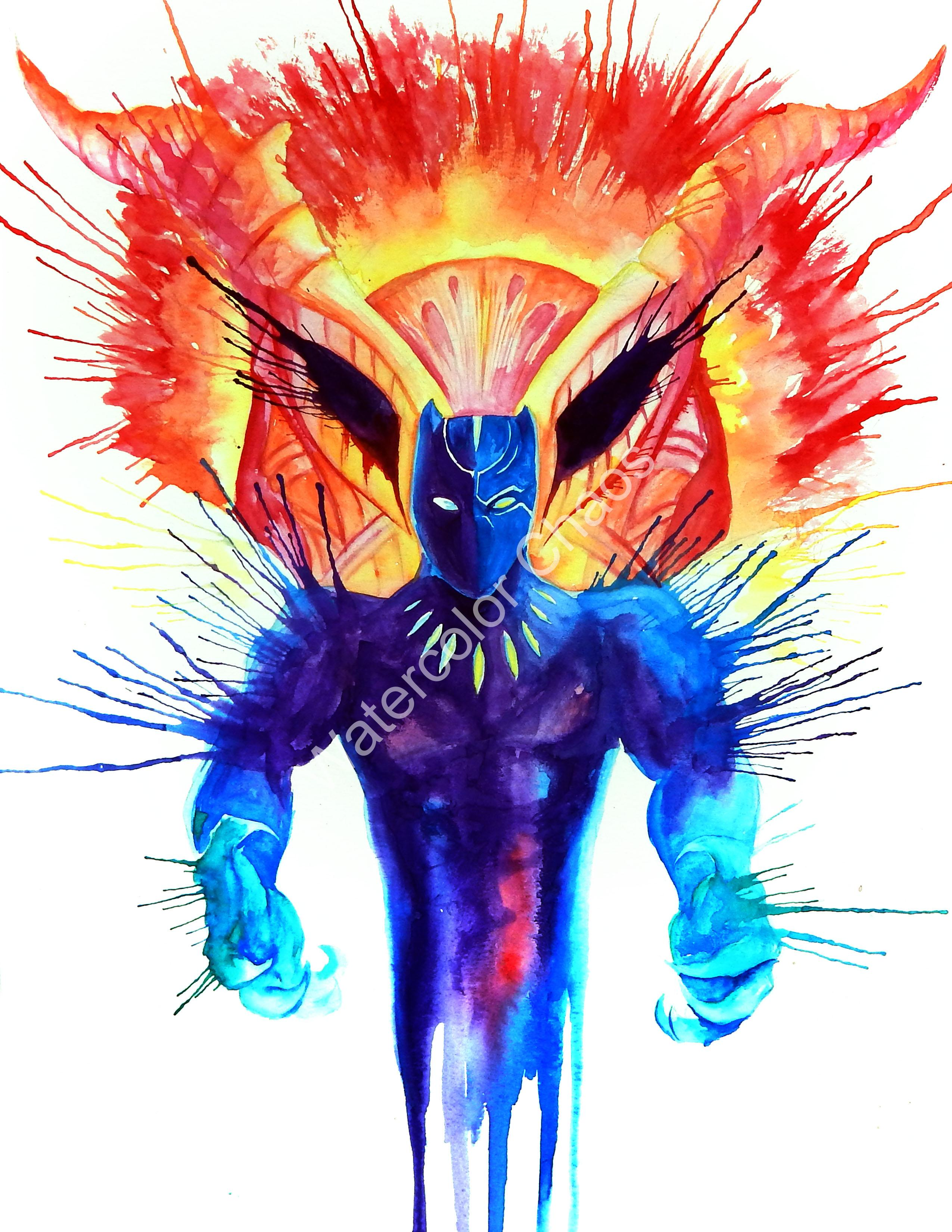 2550x3300 Black Panther Watercolor Chaos