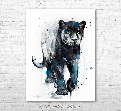 500x460 Black Panther Watercolor Painting Print By Slaveika