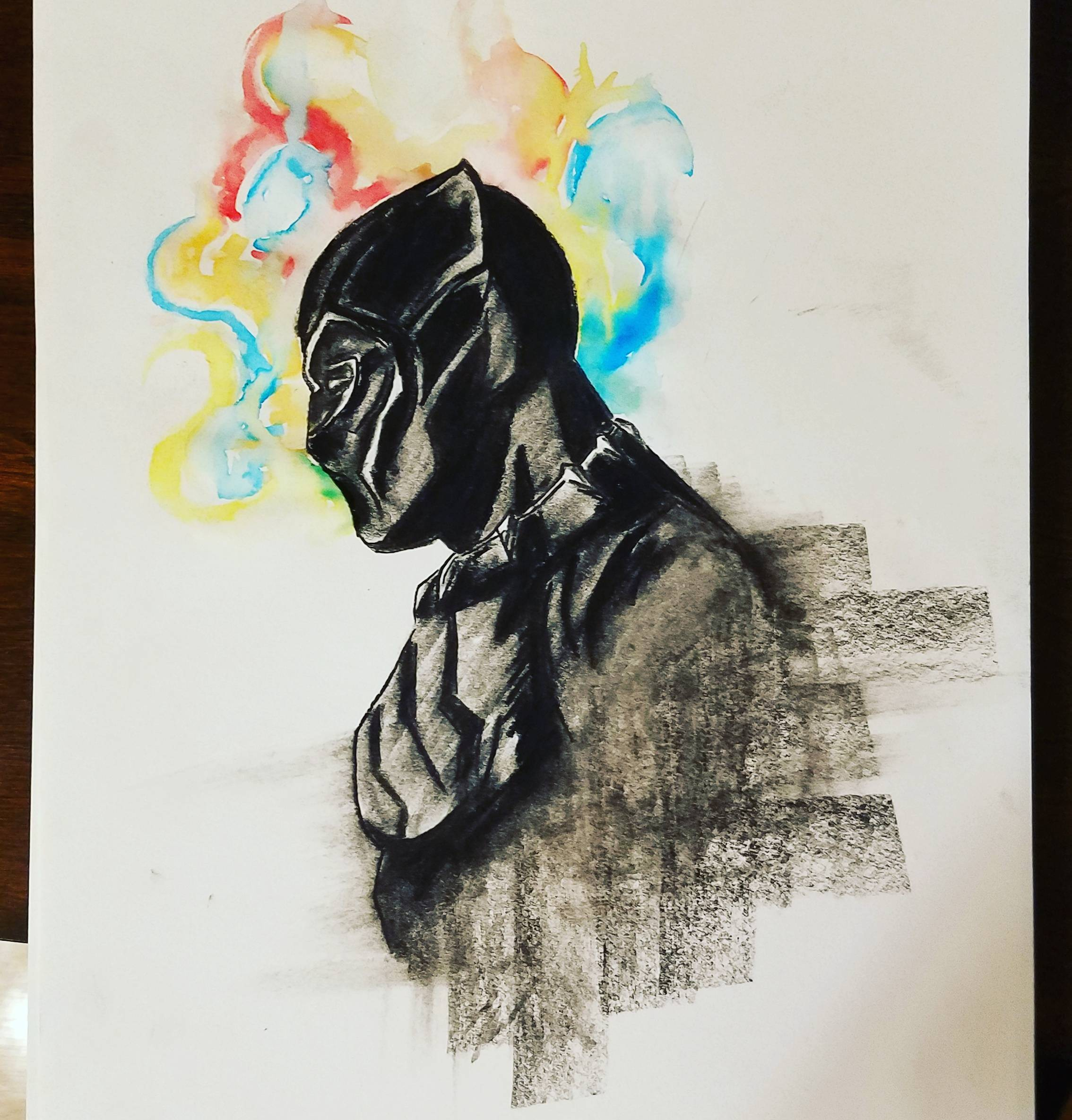 2268x2369 My Take On The Nrw Black Panther Poster (Charcoal And Watercolor