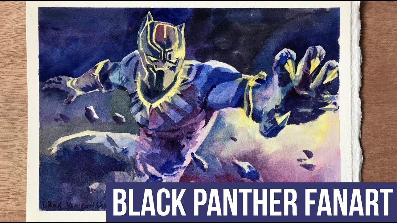 1280x720 Painting Black Panther In Watercolor Time Lapse Fanart Speed