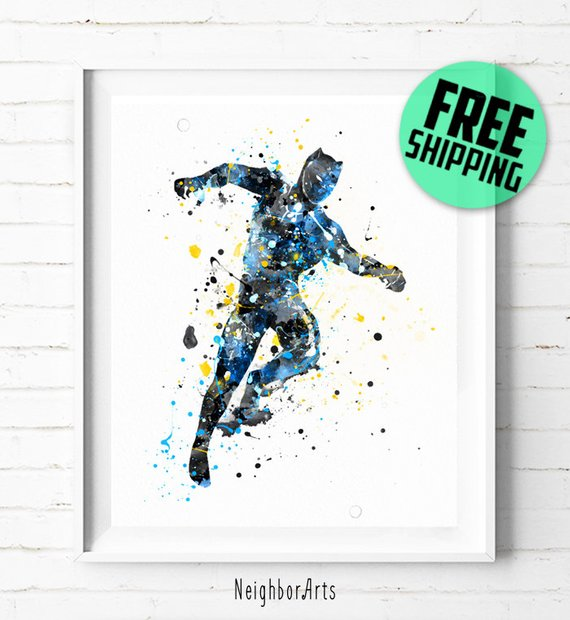 570x620 Superhero Black Panther Print Superhero Watercolor Art Black Etsy