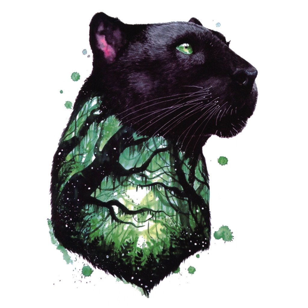 1024x1024 Temporary Tattoo Animals Watercolor Panther